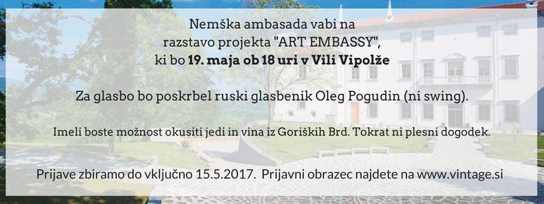 Nemška ambasada vabi na rastavo projekta ART EMBASSY,ki bo 19. maja ob 18 uri v Vili Vipolže